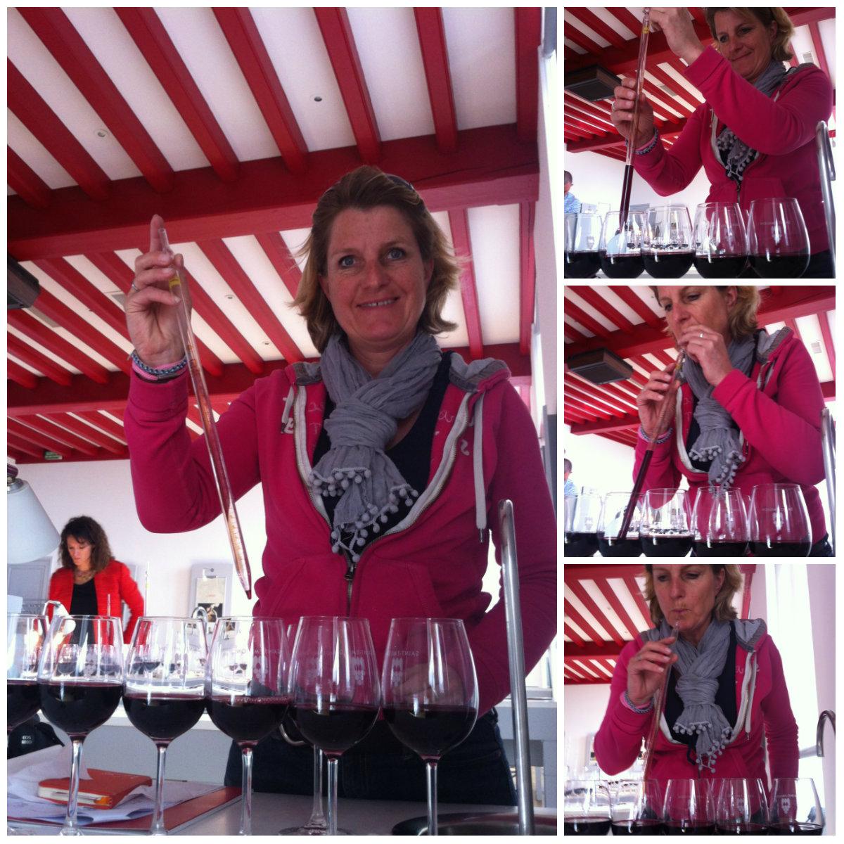 Josee op workshop wijnmengen