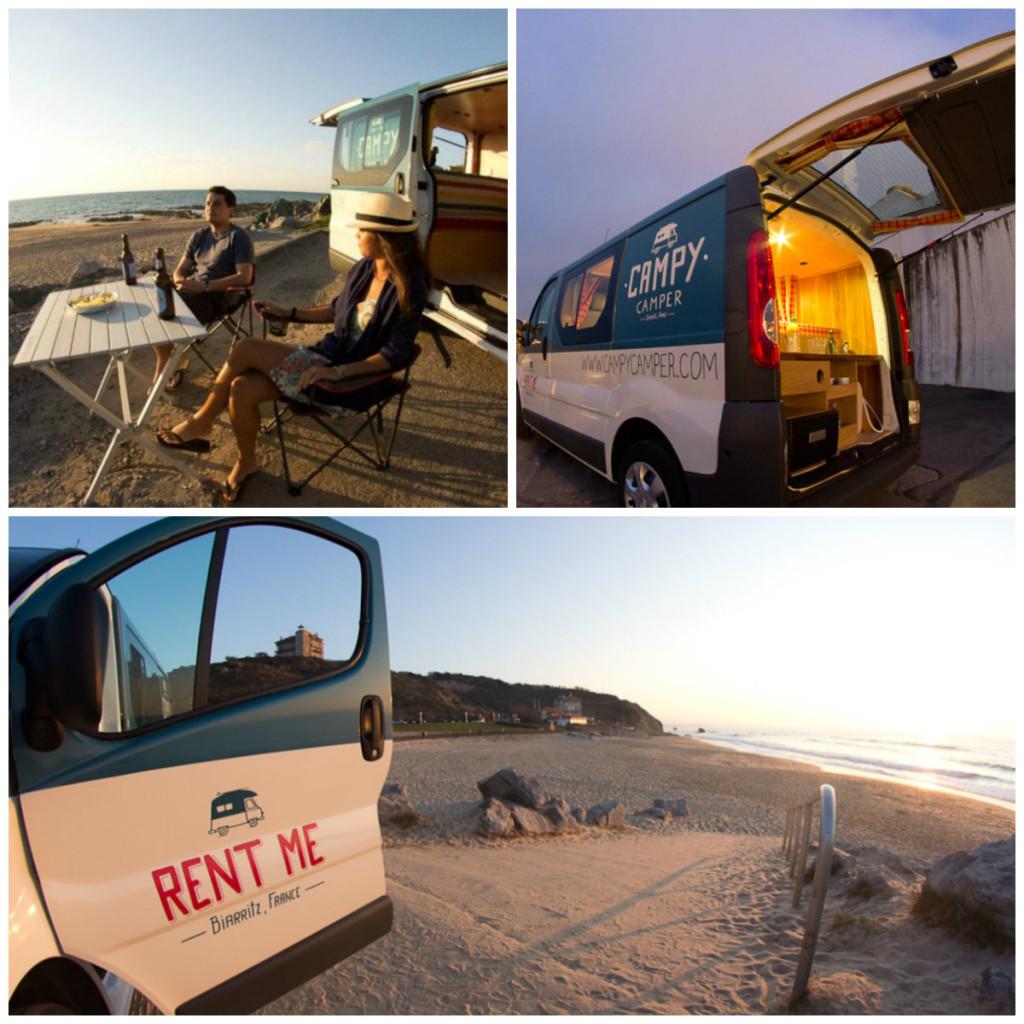 Aquitaine Atlantische kust kampeerbusjes campers te huur roadtrip vakantie