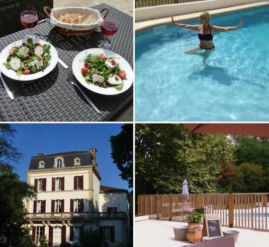 Huis aan de Lot Les Gazailles zwembad table d'hotes terras