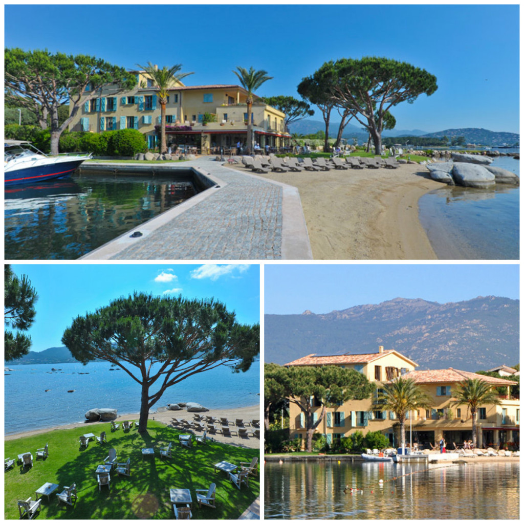 privé-strandje, de eigen kade en de enorme tuin in hotel Goeland Porto-Vecchio