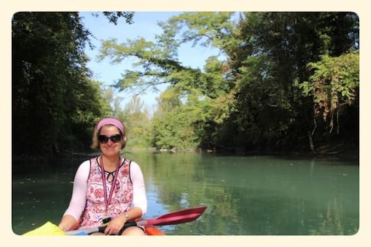 Josee op een kano