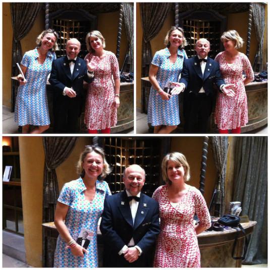 Josee, Carole en Gérard Ravet, concierge bij hotel La Cour des Loges