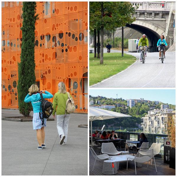 Fietsen in Lyon en ontdekking van de wijk La Confluence