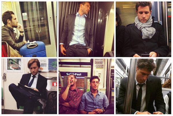 Mooie mannen in de metro van Parijs