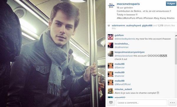 Instagram account mooie mannen in de metro van Parijs