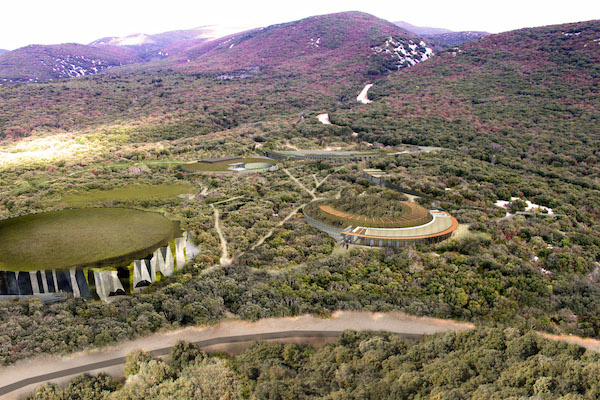 Vogelperspectief grot van Chauvet in de Ardeche