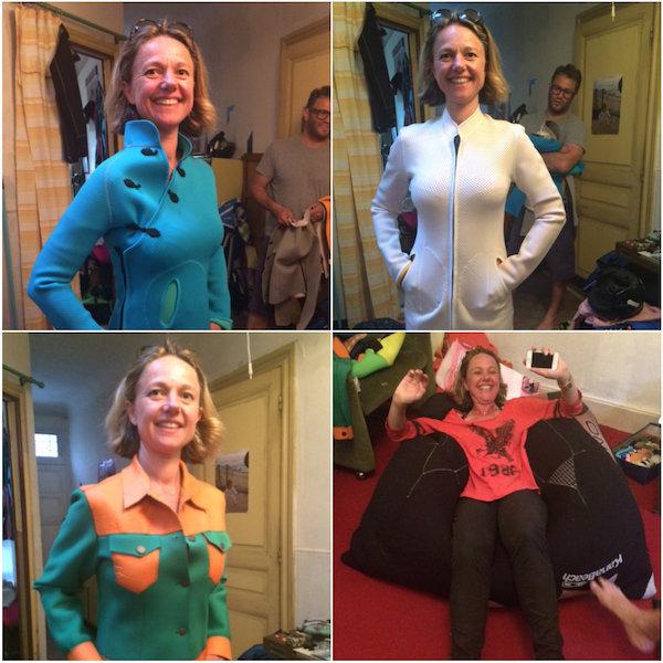 Carole showt Neopreen couture - verschillende gekleurde wetsuits