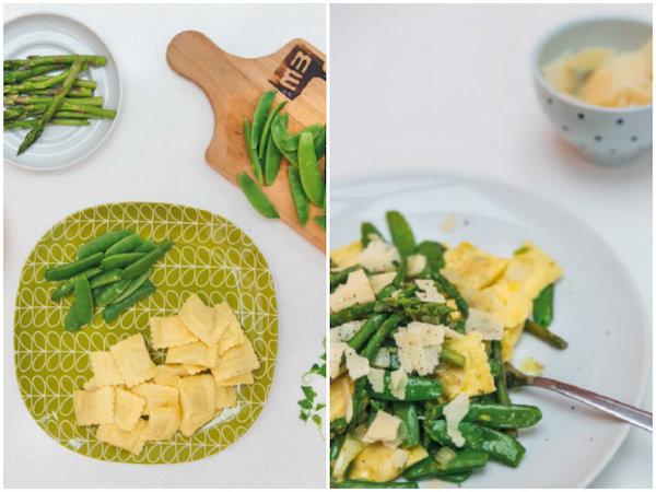 Ravioli met groene groenten