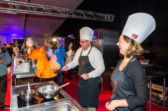 Carole tijdens de kookwedstrijd in Chatel