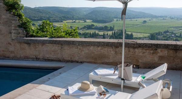 Uitzicht vanuit Hotel Vieux Castillon