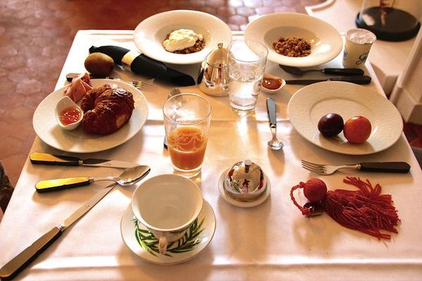 Ontbijt in Hotel de la Villeon, Rhonedal