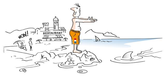Nederlanders zwemmen na de lunch