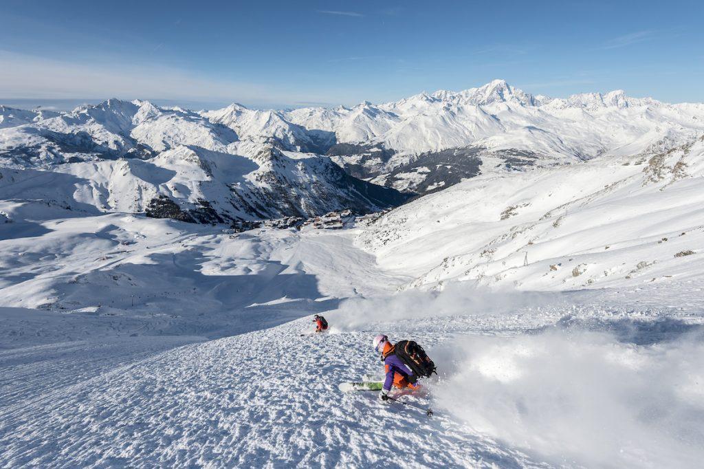 Les Arcs skigebied Franse Alpen zomer winter foto op dezelfde plek
