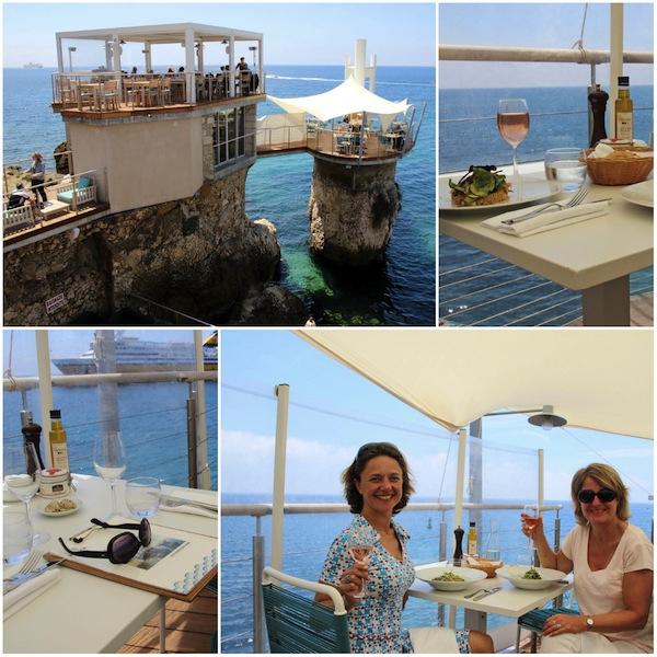 Le Plongeoir, restaurant gebouwd bovenop de oude duiktoren bij de haven van Nice