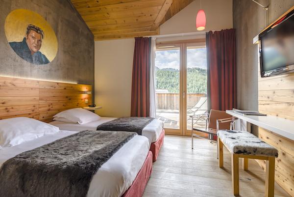 Anova berghotel Montgenèvre wintersport bergwandelen gezellig trendy hip slaapkamer