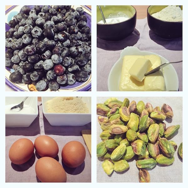 Ingrediënten voor blauwe bessen taart