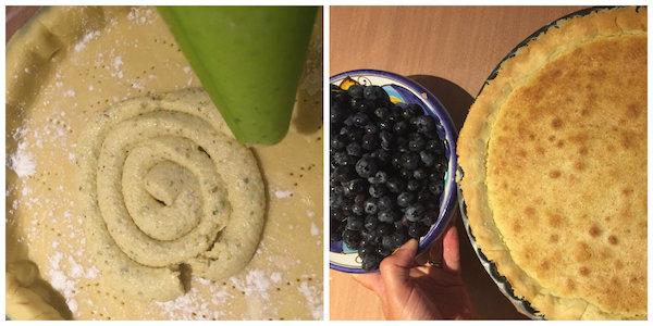 Spuit de pistache-amandelcrème erop met een spuitzak (rondjes maken vanuit het midden) en verdeel met een lepel.