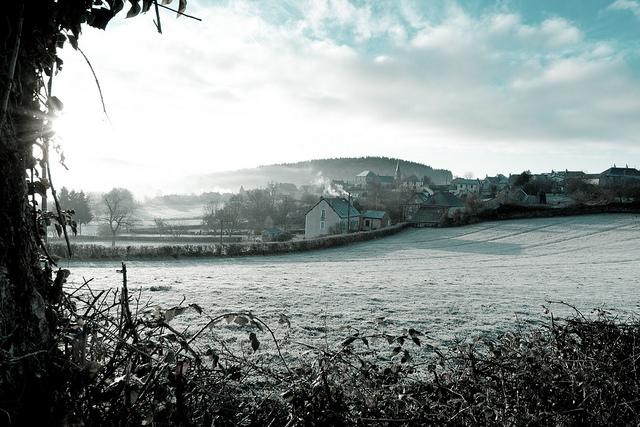 Bourgogne dorpje sneeuw winter