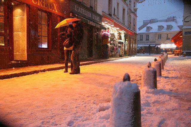 sneeuw Parijs winter