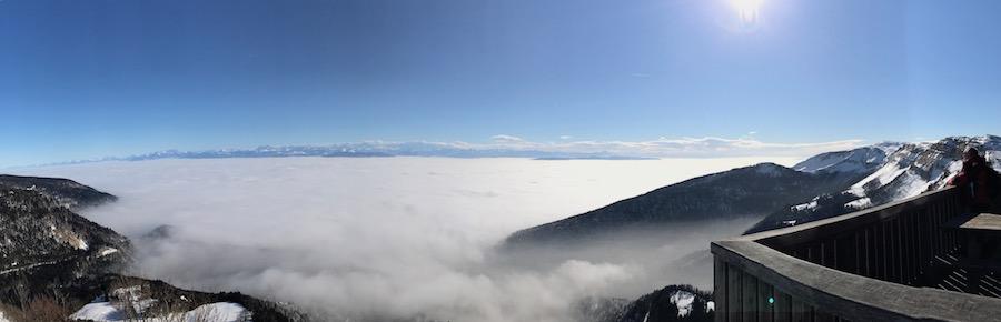 Montagnes de Jura met uitzicht Mt Blanc