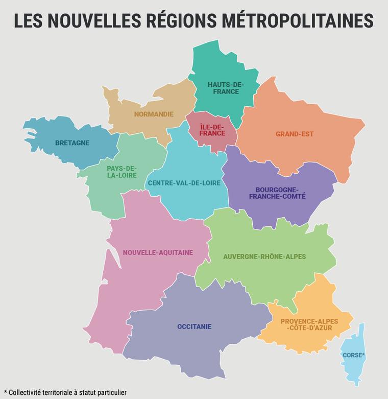 nieuwe Franse regio's 2016 namen