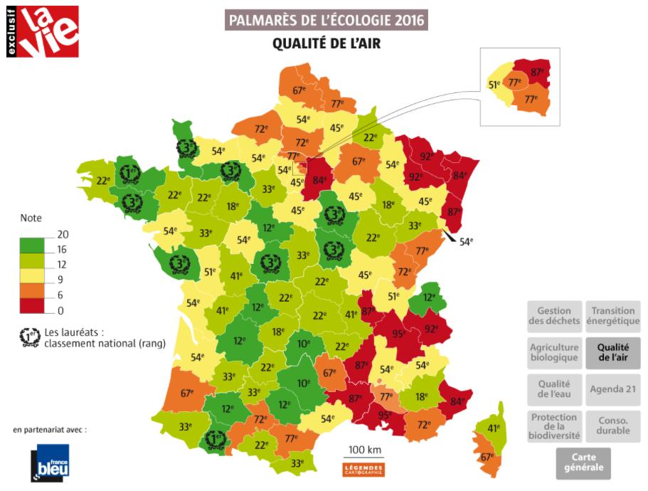 Frankrijk frisse lucht departementen