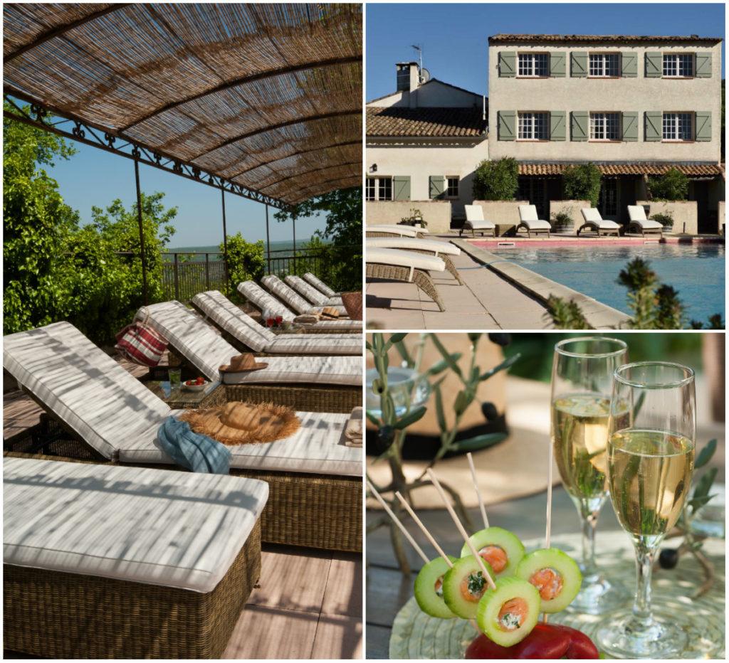 Hotel Drome provencale binnenplaats zwembad tuin aperitief
