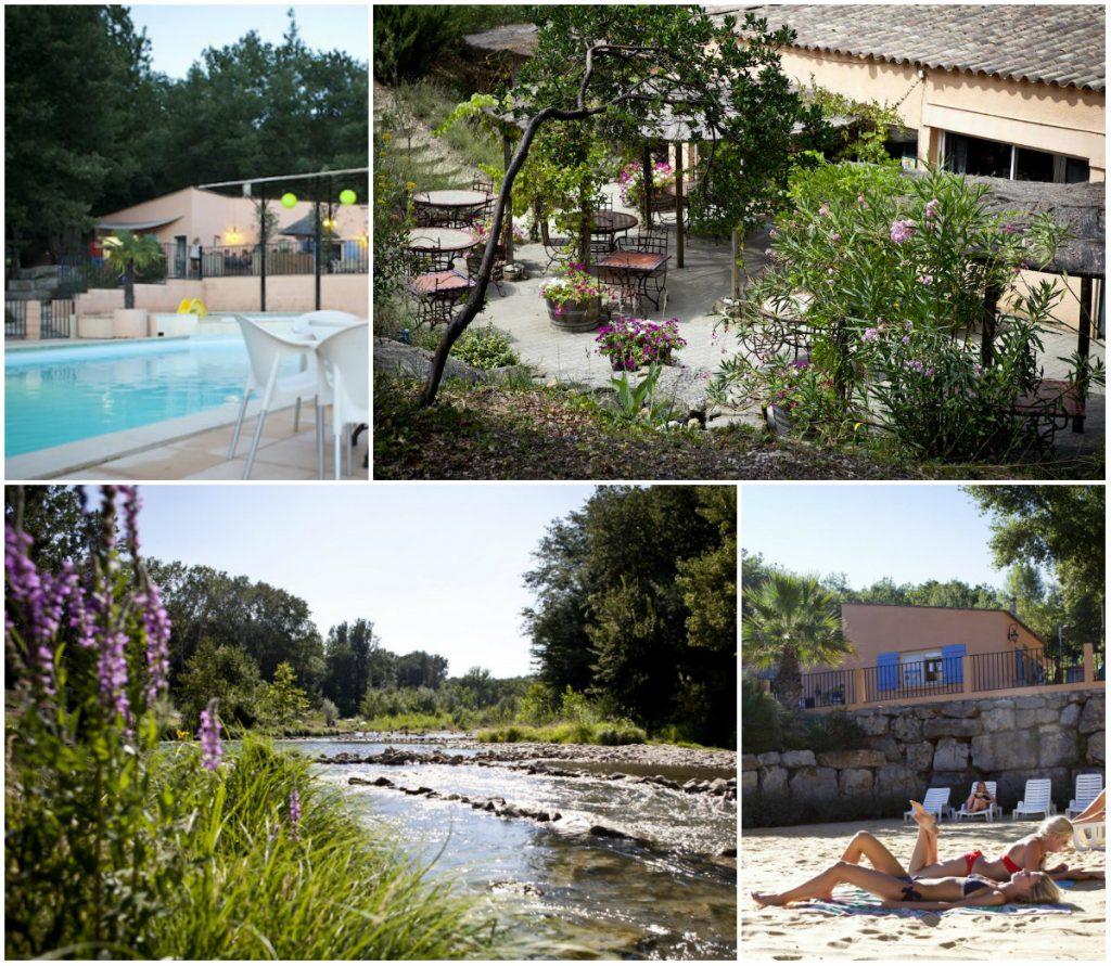 Nederlandse camping Languedoc aan riviertje zwembad