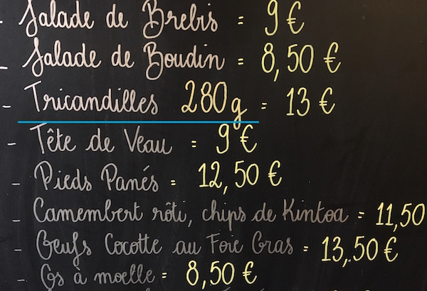 tricandilles tripes uit Bordeaux