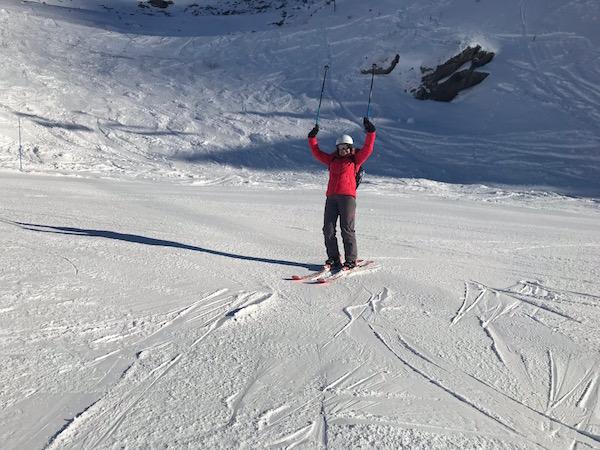 Josee neemt een skiles
