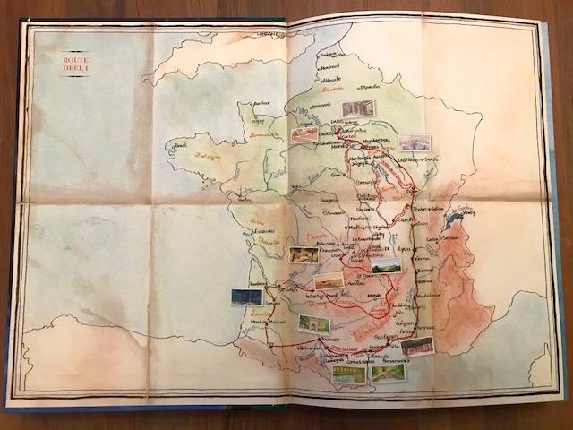 """kinderboek """"Alleen op de wereld"""" nieuwe uitgave route door Frankrijk"""