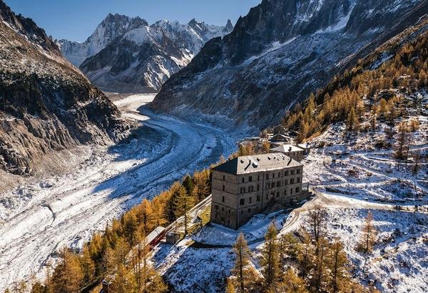 De gletsjer van de Mont Blanc