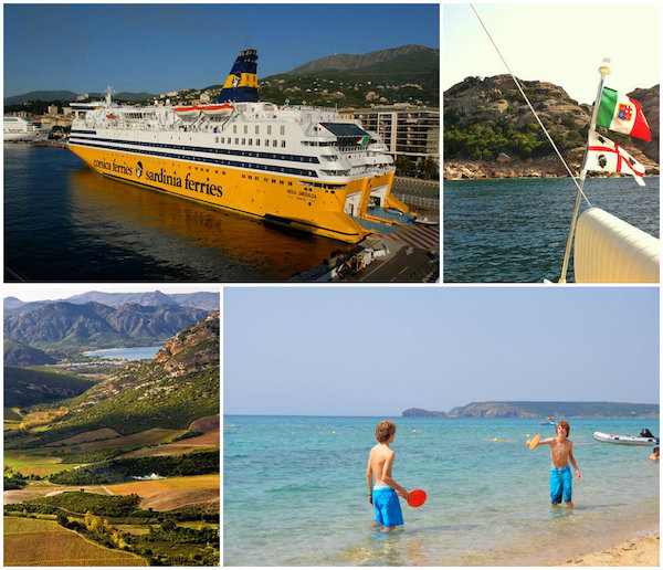 De ferry tussen Corsica en Sardinië, strand en vlag van Sardinië, Corsicaanse bergen