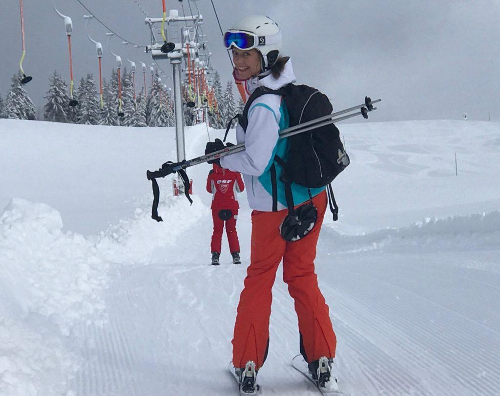 Carole in skilift La Clusaz