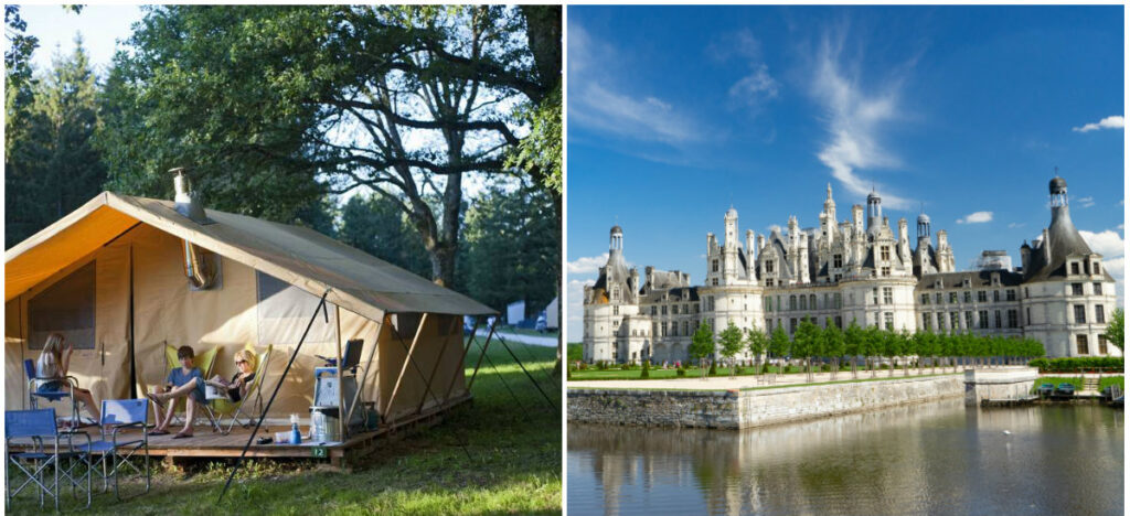 kamperen in de Loirevallei vlak bij kasteel van Chambord