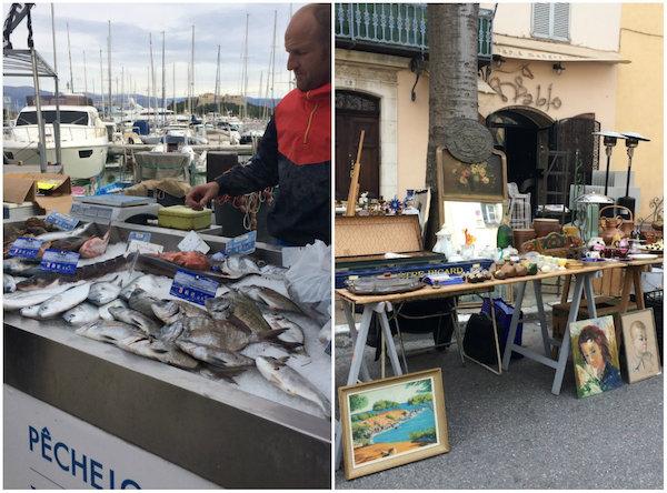 Naar de markt (antiek, vis, Provençaalse producten) in Antibes