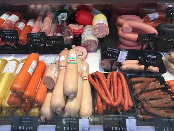 boodschappen Franse supermarkt worst
