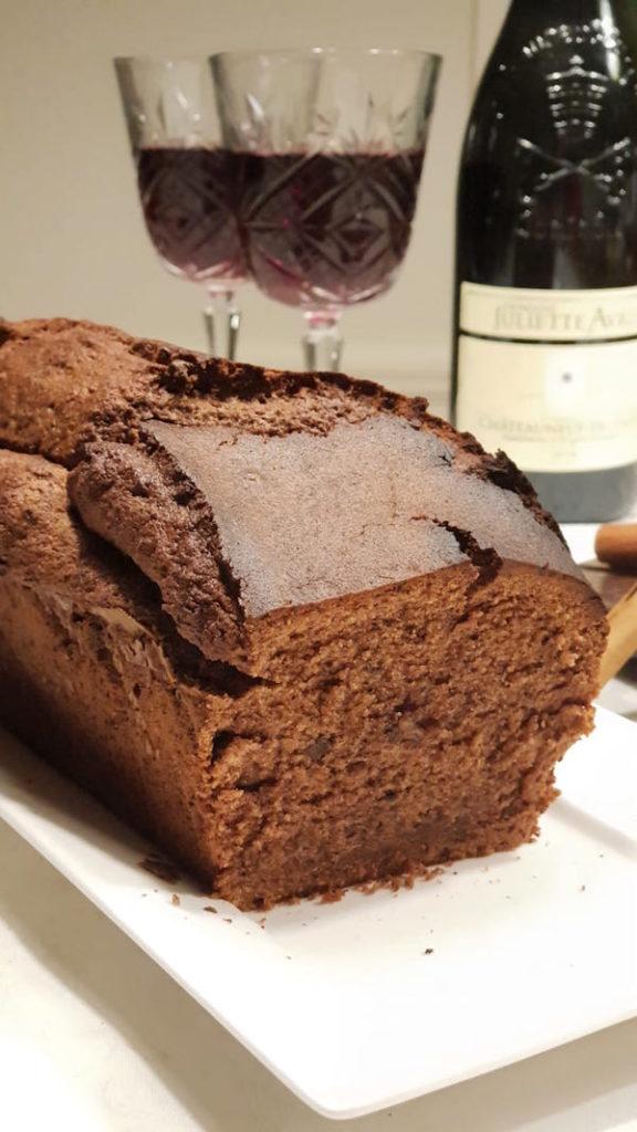 chocoladecake met rode wijn