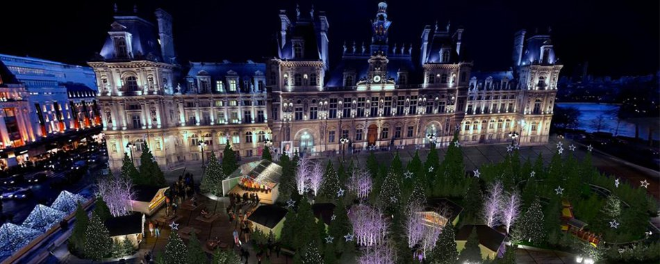 kerstmarkt voor het Hôtel de Ville