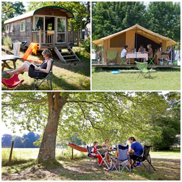camping op platteland Normandie Calvados Huttopia