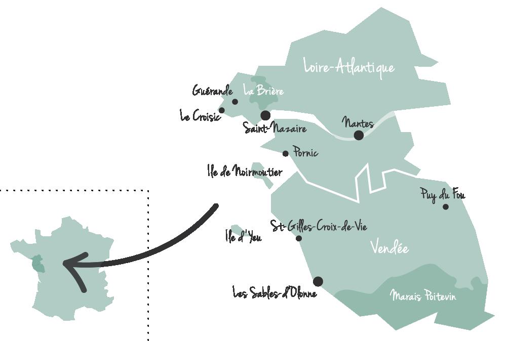 kaartje Vendée en Atlantische Loirestreek