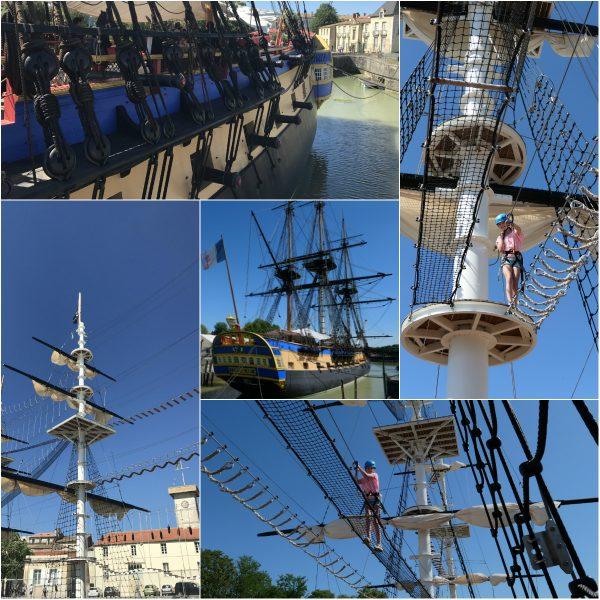 Accromats in Rochefort klimmen op een schip