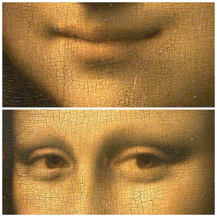 Mona Lisa details lachend of verdrietig