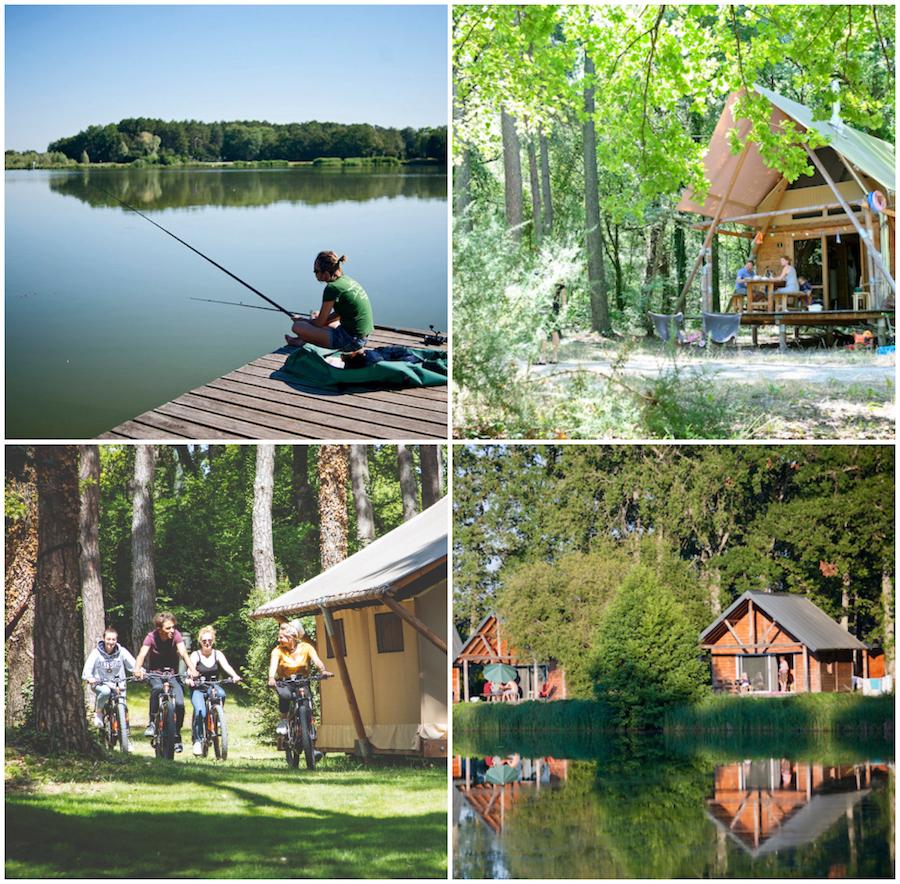 Rillé glamping village Huttopia aaan een meer