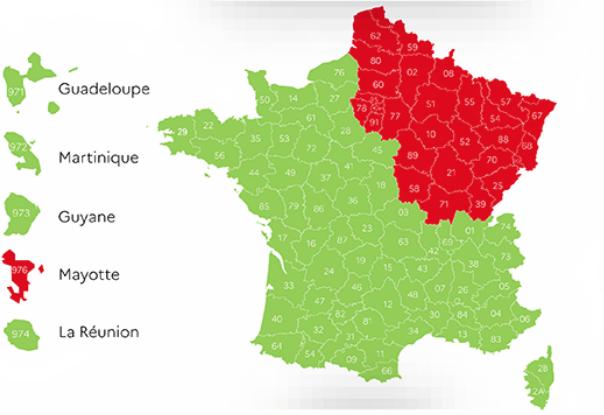 kaart Frankrijk departementen COVID-19 corona