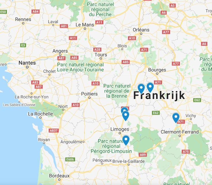 B&B's langs de Franse autoroutes A20 en A71