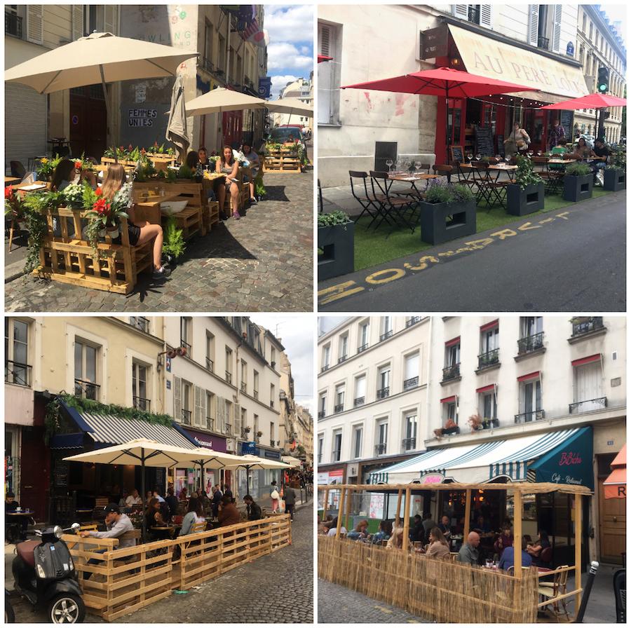 geimproviseerde terrassen in Parijs van pallets