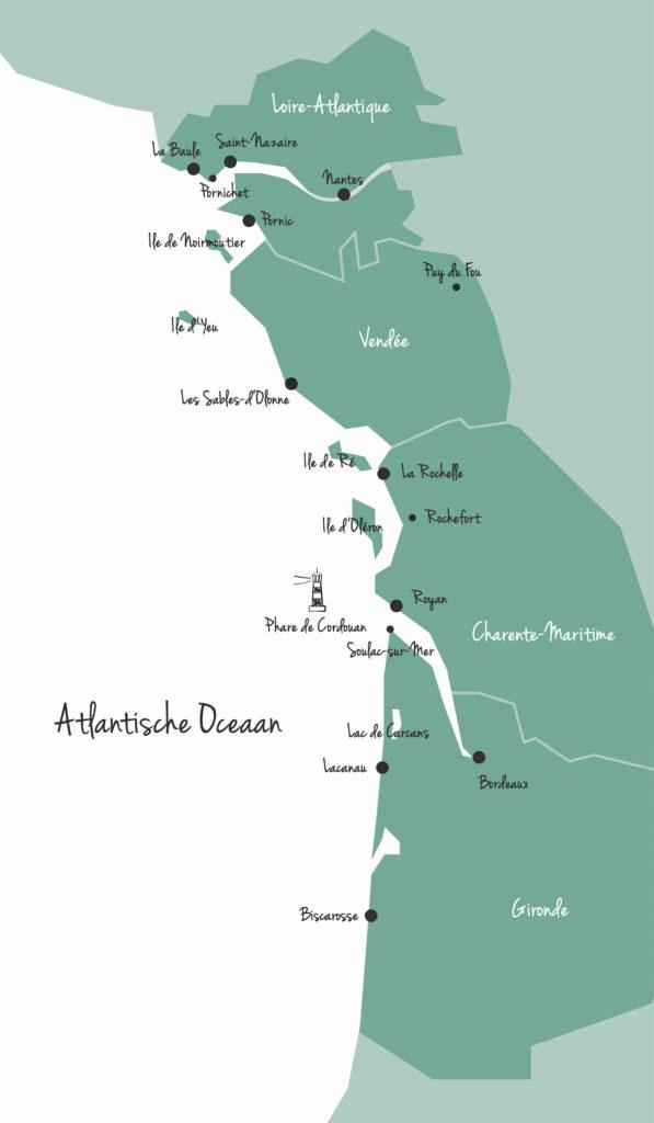 kaart Franse westkust Atlantische kust