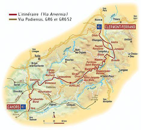 pelgrimsroute Via Arverna ind e Auvergne