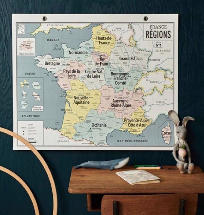 schoolplaat Franse landkaart